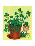 Leprechaun and Clover - Jack & Jill Giclee Print by Milt Groth