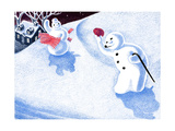 Good Morning Snowman - Jack & Jill Giclee Print by Beth Henninger