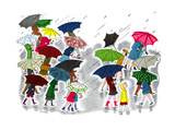 Umbrellas - Jack & Jill Giclee Print by Stella May DaCosta
