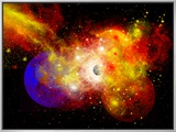 A Dying Star Turns Nova as it Blows Itself Apart Framed Canvas Print by  Stocktrek Images