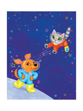 Mutt on the Moon - Jack & Jill Giclee Print by Elisa Chavarri