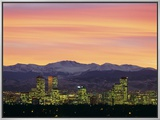 Skyline and Mountains at Dusk, Denver, Colorado, USA Framed Canvas Print