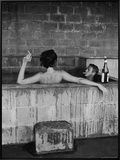 Actor Steve McQueen and Wife Taking Sulfur Bath at Home Framed Canvas Print by John Dominis