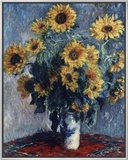 Sunflowers Framed Canvas Print by Claude Monet