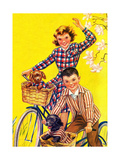 Spring Bike Ride - Child Life Giclee Print by Katherine Wireman