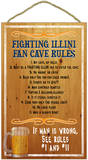 Fighting Illini Fan Cave Rules Wood Sign Wood Sign