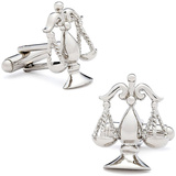Silver Scales of Justice Cufflinks Novelty