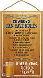 Cowboys Fan Cave Rules Wood Sign Wood Sign