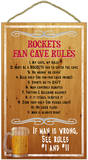 Rockets Fan Cave Rules Wood Sign Wood Sign