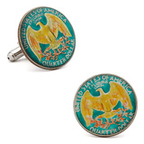 Hand Painted USA Quarter Cufflinks Novelty