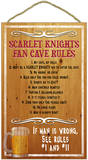 Scarlet Knights Fan Cave Rules Wood Sign Wood Sign