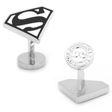 Enamel Black and White Superman Shield Cufflinks Novelty