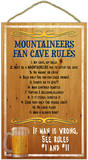 West Virginia University Mountaineers Fan Cave Rules Wood Sign Wood Sign