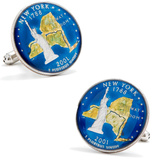 Hand Painted New York Quarter Cufflinks Novelty