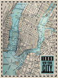 New-York City Map - 1889 Prints by  Blonde Attitude