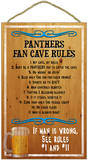 Panthers Fan Cave Rules Wood Sign Wood Sign