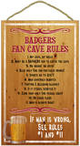 University of Wisconsin Badgers Fan Cave Rules Wood Sign Wood Sign