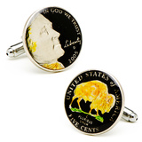Hand Painted Black Buffalo Nickel Cufflinks Novelty