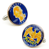 Hand Painted Blue USA Quarter Cufflinks Novelty