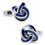 Sterling Blue Enamel Knot Cufflinks Novelty