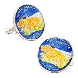 Hand Painted North Dakota State Quarter Cufflinks Novelty