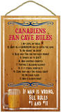 Canadiens Fan Cave Rules Wood Sign Wood Sign