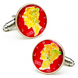 Hand Painted Red Liberty Dime Cufflinks Novelty