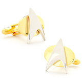 Two Tone Star Trek Delta Shield Cufflinks Novelty