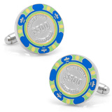 $500 Blue Poker Chip Cufflinks Novelty