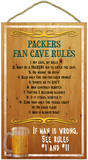 Packers Fan Cave Rules Wood Sign Wood Sign