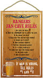 New York & Texas Rangers Fan Cave Rules Wood Sign Wood Sign