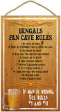 Bengals Fan Cave Rules Wood Sign Wood Sign