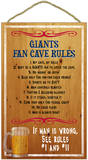 New York Giants Fan Cave Rules Wood Sign Wood Sign