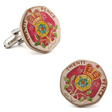 Hand Painted British Twenty Pence Coin Cufflinks Novelty