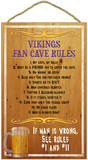 Vikings Fan Cave Rules Wood Sign Wood Sign