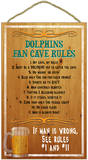Miami Dolphins Fan Cave Rules Wood Sign Wood Sign