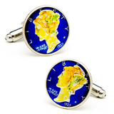 Hand Painted Blue Liberty Dime Cufflinks Novelty