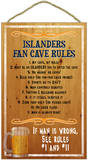 New York Islanders Fan Cave Rules Wood Sign Wood Sign