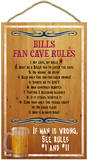 Bills Fan Cave Rules Wood Sign Wood Sign