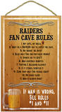 Raiders Fan Cave Rules Wood Sign Wood Sign