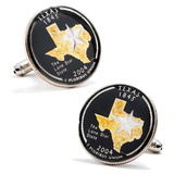 Hand Painted Texas Quarter Cufflinks Novelty