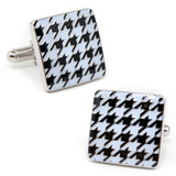 White and Black Enamel Houndstooth Cufflinks Novelty