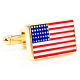 Gold American Flag Cufflinks Novelty
