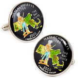 Hand Painted Massachusetts State Quarter Cufflinks Novelty