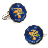 Hand Painted Hong Kong 20 Cent Coin Cufflinks Novelty