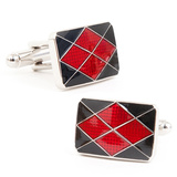 Black and Red Enamel Argyle Cufflinks Novelty