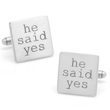 Wedding Series He Said Yes Cufflinks Novelty