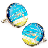 Hand Painted North Carolina State Quarter Cufflinks Novelty