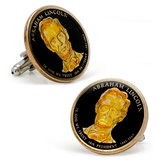 Hand Painted Abraham Lincoln Dollar Coin Cufflinks Novelty