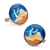 Hand Painted California Quarter Cufflinks Novelty